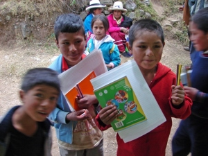 School books, pencils and paper provided by LED, Peru