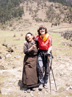 Solukhumbu Trek April/May 2016 - Val and an elderly lady who received an LED light and healthcare