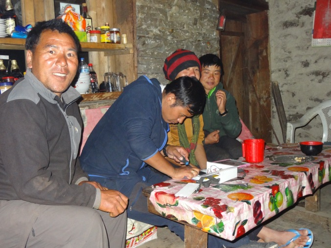 LED solar light repairs, Jase Bhanjyang – LED Solu Khumbu Trek, April/May 2016