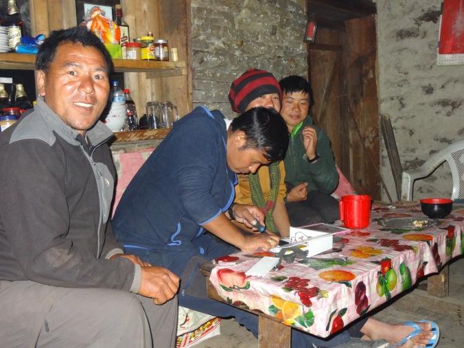 LED solar light repairs, Jase Bhanjyang – LED Solu Khumbu Trek, April/May 2016