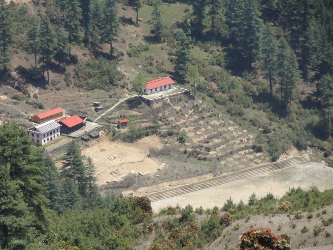 "Junbesi school hostel, rebuilt (""new wood"" building with red roof on the left) – LED Solu Khumbu Trek, April/May 2016"
