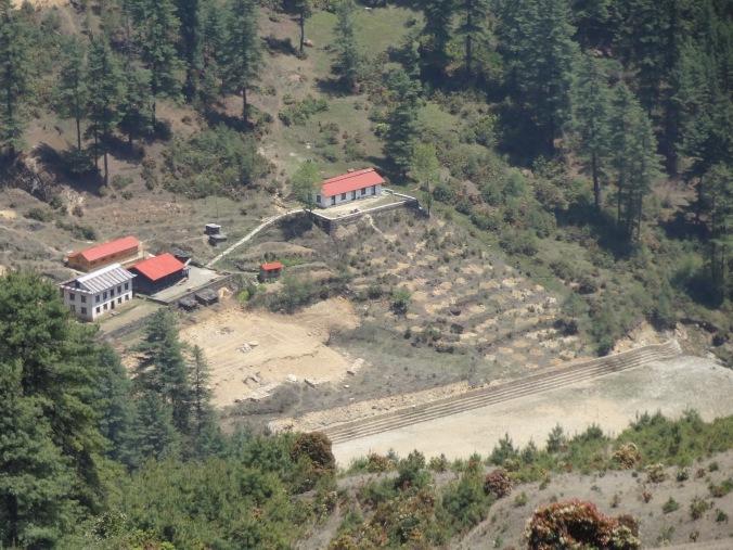 "Junbesi school hostel, rebuilt (""new wood"" building with red roof on the left) – LED Solu Khumbu Trek, April/May 2016"