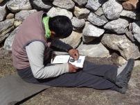LED solar light repair, Bhote Kosi valley - LED Solu Khumbu Trek, April/May 2016