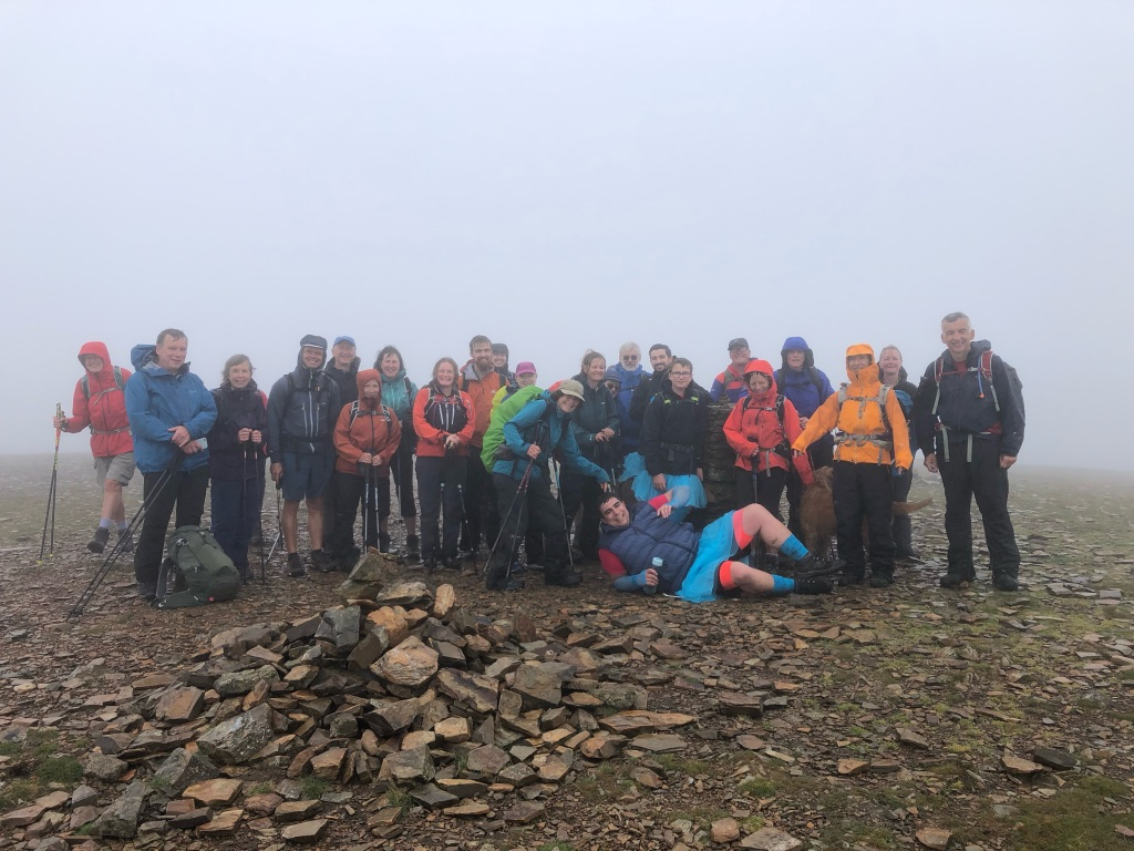 LED Fundraising Weekend 2021 - Everyone on a very claggy summit of Crag Hill
